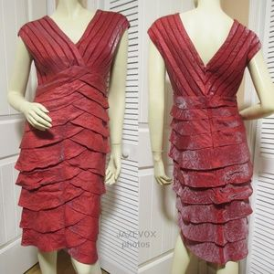 ADRIANNA PAPELL V-Neck Glitter Dress Tier Wine Red